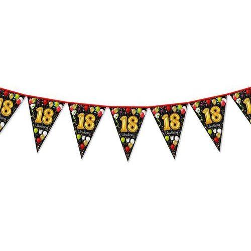Dp Baner flagi czarna w baloniki na 18 urodziny - 2 m - 1 szt.