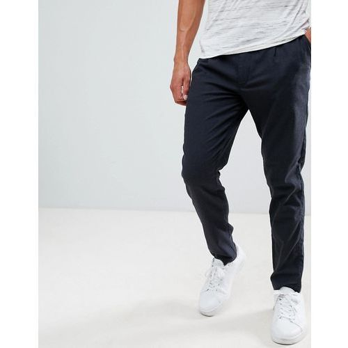 Selected Homme Trouser With Pleated Waistband In Tapered Fit - Grey