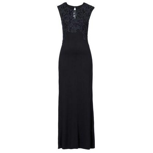 Długa sukienka z koronką bonprix czarny, w 6 rozmiarach