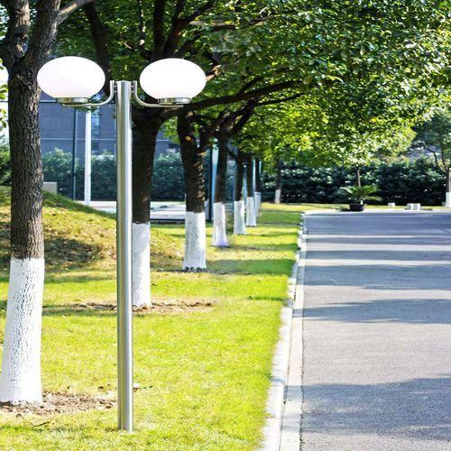 vidaXL Lampa, latarnia ogrodowa, stojąca (220 cm) z dwoma kloszami