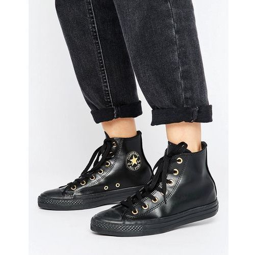 Converse Chuck Taylor Hi Top Trainers In Black With Gold Eyelets - Multi