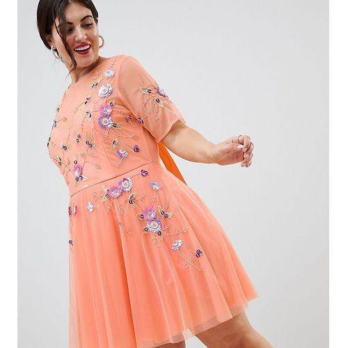 ASOS DESIGN Curve premium embellished tulle open back mini dress - Orange