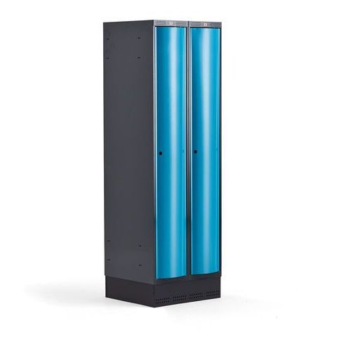 Metalowa szafa ubraniowa curve, na cokole, 2x1 drzwi, 1890x600x550 mm, niebieski marki Aj produkty