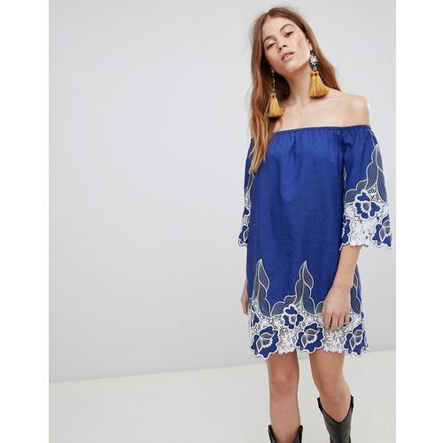 Glamorous off shoulder mini shift dress with contrast floral lace - blue