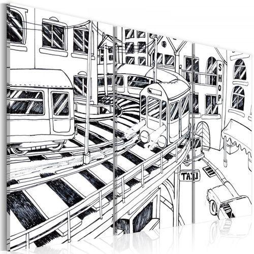 Obraz - futurystyczna stacja kolejowa - black and white marki Artgeist