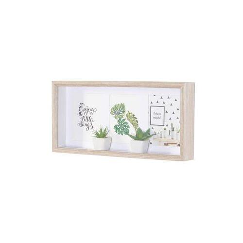 Ramka na zdjęcia z 2 sukulentami naturalno-zielono-biały marki Bonprix
