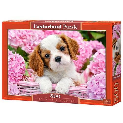 Puzzle 500 Pup in Pink Flowers CASTOR, AM_5904438052233