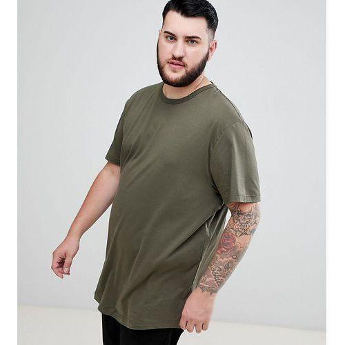 River Island Big & Tall Longline T-Shirt With Curved Hem In Khaki - Green, w 2 rozmiarach
