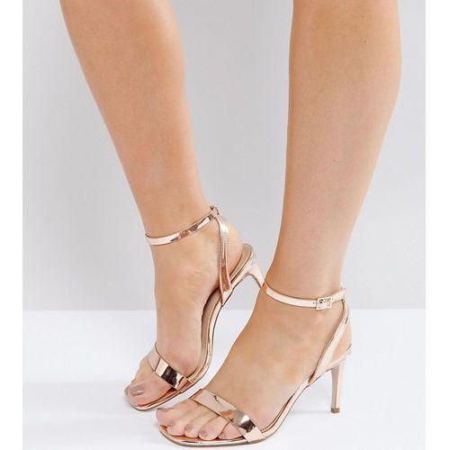 hideaway wide fit heeled sandals - beige, Asos