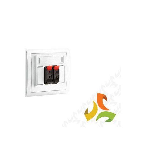 Gniazdo głośnikowe Hi-Fi, białe do podłączenia od 1 do 4 kolumn głośnikowych, z polem opisowym, mocowane na wkręty lub łapki, MGL3/11 SIMON CLASSIC, MGL3/11/KON