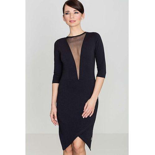 Czarna seksowna asymetryczna sukienka z szyfonową wstawką, Katrus, 36-42