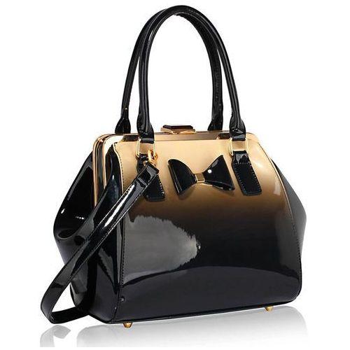 Efektowny cieniowany kuferek lakierowany nude - czarny ||nude, cielisty marki Wielka brytania