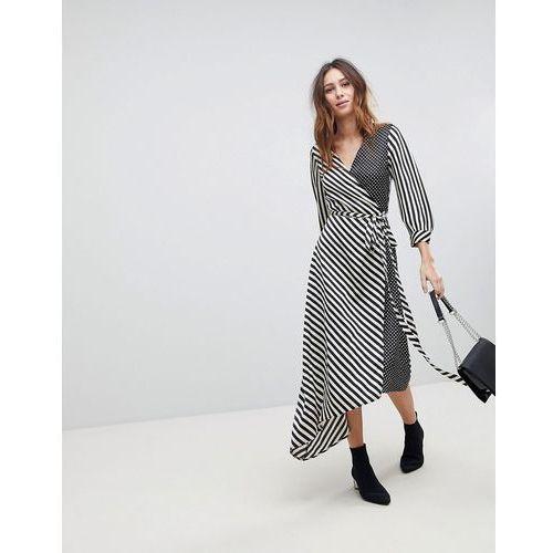 Stradivarius stripe and spot print wrap dress - multi