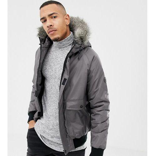 D-Struct TALL Fur Trimmed Short Parka Duarable poly - Grey