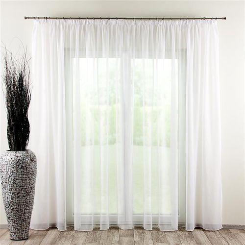 Dekoria Firana woalowa na taśmie 300×260cm, biały/ołowianka, 300 × 260 cm, Woale, kolor biały