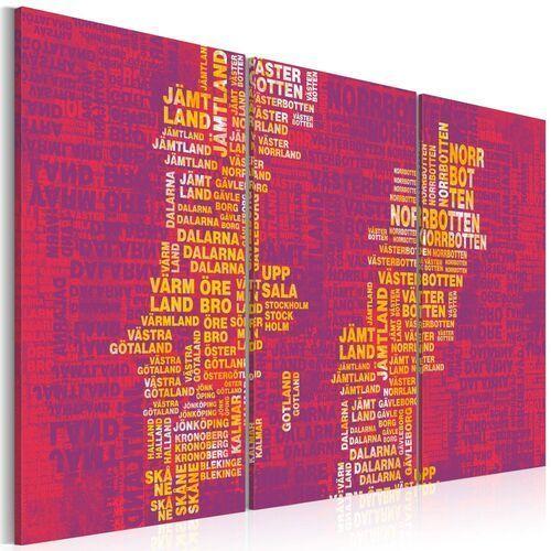 Obraz - mapa szwecji (różowe tło) - tryptyk marki Artgeist