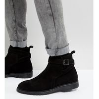 wide fit chelsea boots in black leather with strap detail - black, Asos