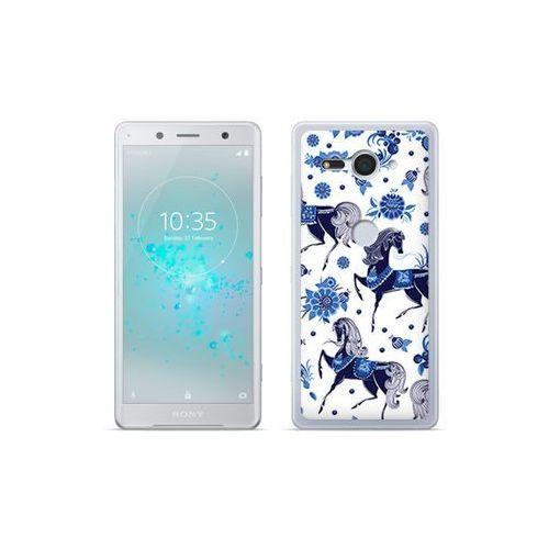 etuo Fantastic Case - Sony Xperia XZ2 Compact - etui na telefon Fantastic Case - folkowe niebieskie konie, kolor niebieski