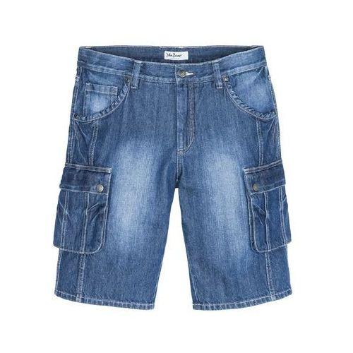 """Bermudy bojówki Regular Fit bonprix niebieski """"used, bawełna"""