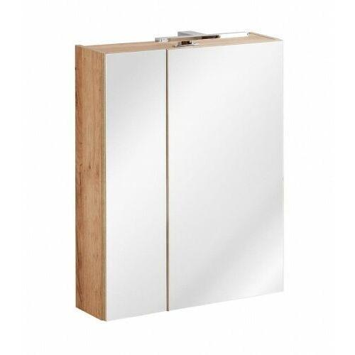 COMAD szafka wisząca z lustrem i oświetleniem Capri Oak 60 2D dąb craft złoty CAPRI OAK 842 + VIENTO 870