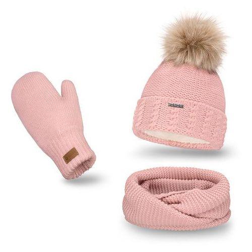 Komplet PaMaMi, czapka, komin, rękawiczki - Pudrowy róż - Pudrowy róż (5902934055246)
