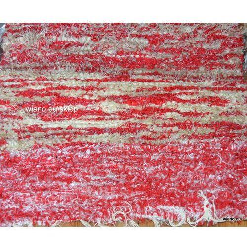 Chodnik bawełniany ręcznie tkany różowo-jasnobrązowo-ecru (plus biała połyskująca nić) 50x100 cm