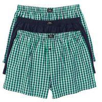 Bokserki z tkaniny (3 pary) bonprix ciemnoniebiesko-zielony w kratę, kolor wielokolorowy