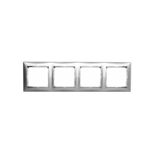 Ramka poczwórna Legrand Valena 770354 pozioma aluminium / srebro, kolor srebrny