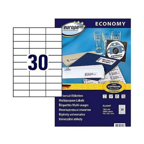 Etykiety samoprzylepne economy 70x29,7mm białe, 100ark. a4, ela047 marki Avery zweckform