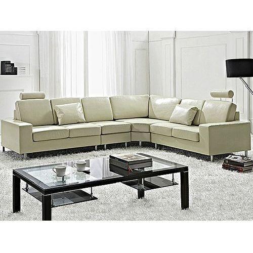 Stylowa sofa kanapa z beżowej skóry naturalnej narożnik - STOCKHOLM, kolor beżowy