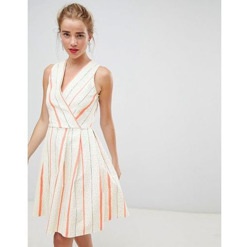 wrap front skater dress in contrast stripe - multi, Closet london