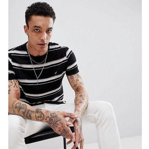 standard fit striped t-shirt in textured nep fabric - black, Heart & dagger, XXS-XL