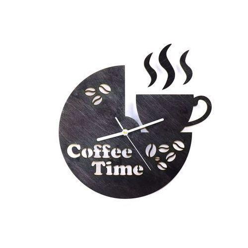 Congee.pl Drewniany zegar na ścianę coffee time z białymi wskazówkami (5907509932489)