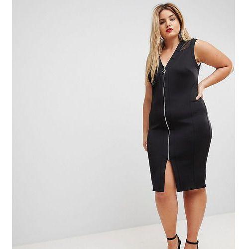 Asos curve mesh insert bodycon zip midi dress - black