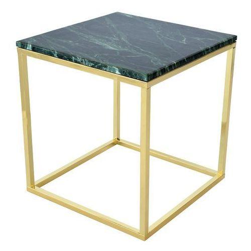 :: stolik kawowy accent 50 x 50 cm - zielony marmur / złota podstawa marki Rge
