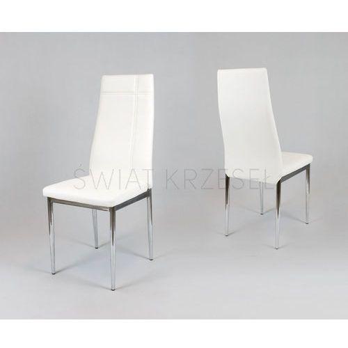 Sk design  ks023 białe krzesło z ekoskóry na chromowanym stelażu - biały