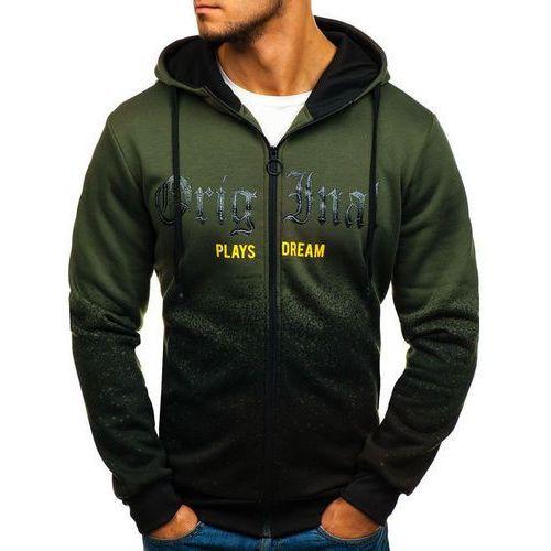 Bluza męska z kapturem rozpinana zielona Denley HY310