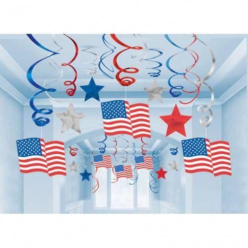 Dekoracja wisząca świderki USA - 60 cm - 30 szt. (0013051256708)