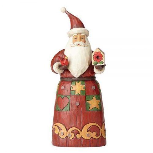 Mikołaj z ptaszkiem i budką Folklore Santa With Bird House 4058763 Jim Shore figurka ozdoba świąteczna