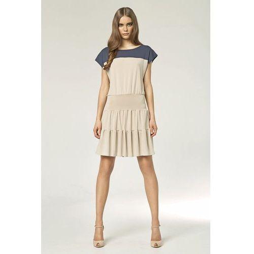 Dwukolorowa sukienka - beż - s45 marki Nife