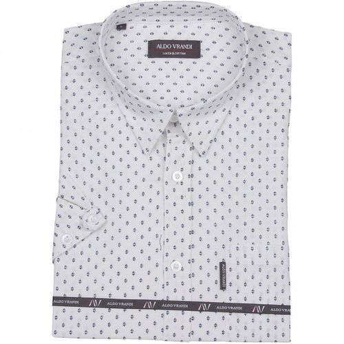 248a24aa0 Biała koszula lniana z delikatnym nadruk... Producent Aldo Vrandi; Materiał  len ...