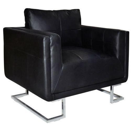 Vidaxl fotel w formie kostki ze skóry syntetycznej, czarny