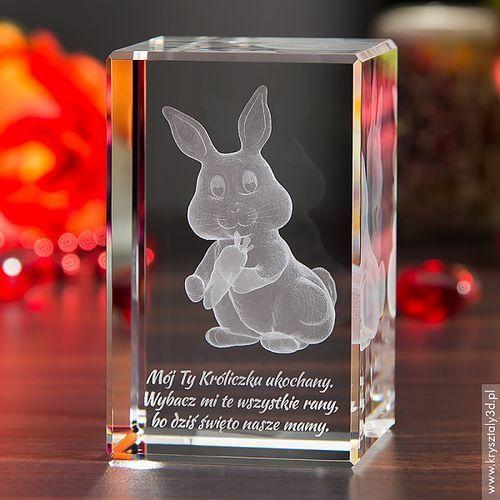 Królik 3D Marchewka ♥ personalizowany kryształ 3D średni • GRAWER 3D
