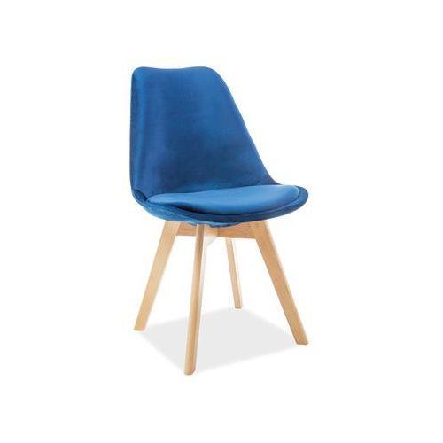 Krzesło drewniane SIGNAL DIOR VELVET buk - granatowy tap. 90. - ZŁAP RABAT: KOD30, Signal