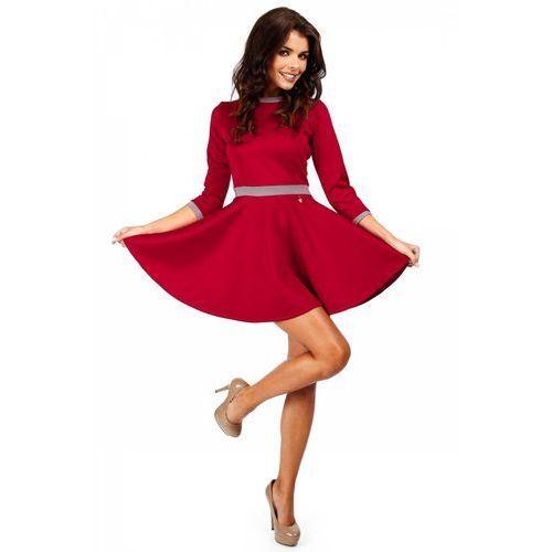 Elegancka rozkloszowana sukienka z koła MOE052 czerwona