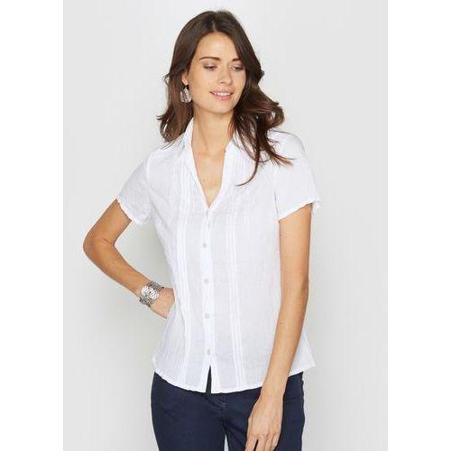 Bluzka koszulowa z poziomymi plisami i ozdobnym haftem