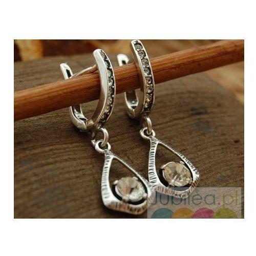 Srebrne kolczyki z kryształem Swarovskiego  AVALN kolor szary