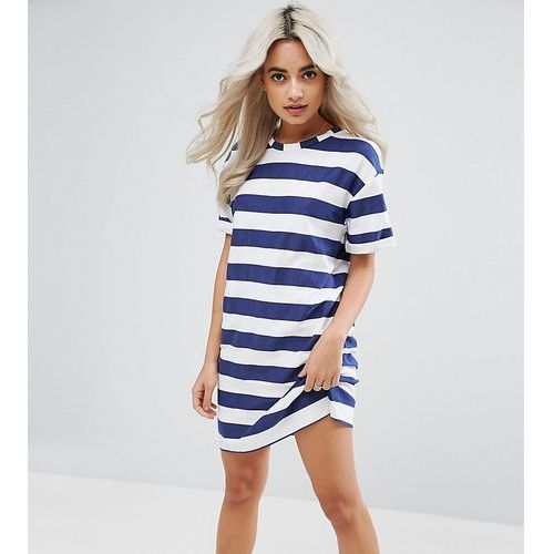 ASOS PETITE Ultimate T-Shirt Dress with Rolled Sleeves in Stripe - Multi