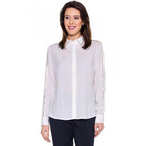 Kremowa koszula z koronkowymi rękawami - Duet Woman, 1 rozmiar