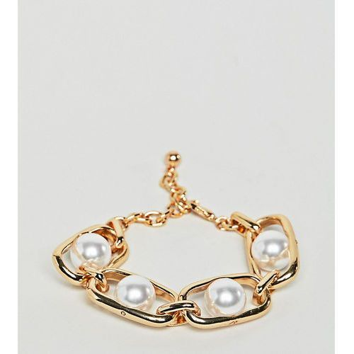 Designb london chunky gold chain and pearl bracelet - gold